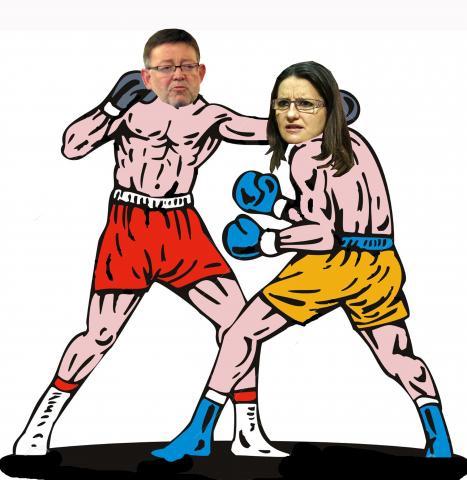 Chimo Puig i Monica Oltra boxejant