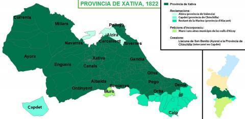 Mapa de l'antiga provincia de Xativa