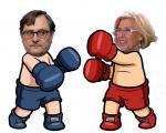 Caricatura de Paco Marhuenda y Manuela Carmena boxejant