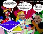 Montoro caracterisat d'Alicia en el Païs de les Maravelles li diu a Rajoy les mentires que va a soltar en el Congrés sobre els presuposts